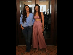 Tabu And Rakulpreet In Pretty Outfits For A Movie Promotion