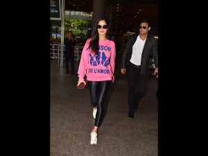 Katrina Kaif In Leather Pants And Pink Sweatshirt At The Airport