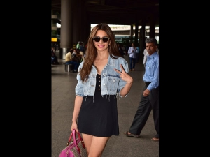 Kriti Kharbanda Spotted In A Denim And Lbd Outfit