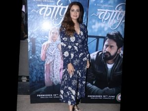 Dia Mirza Spotted In A Blue Floral Dress At The Screening Kaafir