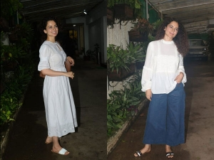 Kangana Ranaut Spotted In Two Simple Ivory Outfits