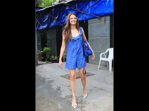 Kriti Kharbanda Spotted In A Chic Blue Playsuit