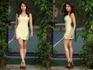Dream Girl Actress Nushrat Bharucha In Dramatic Orange Black Dress And A Classic Yellow Dress