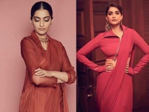 Neerja Actress Sonam Kapoor Ahuja In Red Saris For The Zoya Factor Promotions
