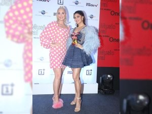 Katy Perry And Jacqueline Fernandez In Pretty Dresses For A Press Conference