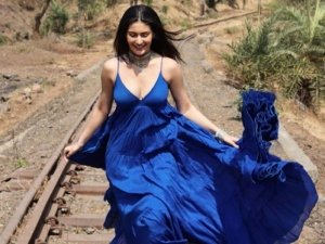 Made In China Actress Amyra Dastur In A Blue Maxi