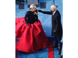Lady Gaga Flaunts A Blazer Outfit And A Golden Dove Brooch At The Inauguration Ceremony