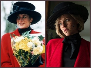 Kristen Stewart As Princess Diana In The Red Jacket And Black Fascinator Hat