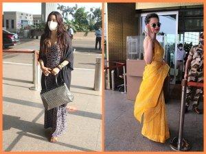 Kangana Ranaut In Yellow Saree And Janhvi Kapoor In Jumpsuit At Airport