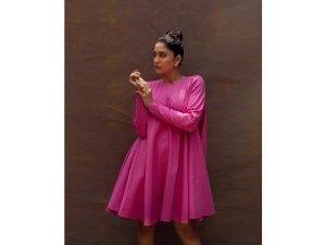 Evaru Actress Regina Cassandra S Pink Flared Dress On Her Instagram