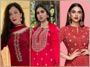 Gauahar Khan Mouni Roy And Aditi Rao Hydari S Red Kurta Sets For Eid Ul Fitr