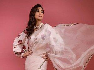 Shilpa Shetty In A White Organza Saree With Printed Blouse For Super Dancer