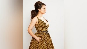 Kangana Ranaut In A Plaid Dress For Dhakad Promotions