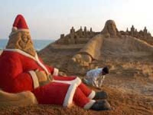 Santa Claus Sand Sculpture