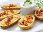 Fried Potato Skins With Cheese And Bacon Recipe