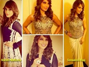 Bipasha Basu In Manish Malhotra And Sonaakshi Raaj Outfits