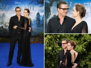 Angelina Jolie Brad Pitt Stun In Black At Maleficent