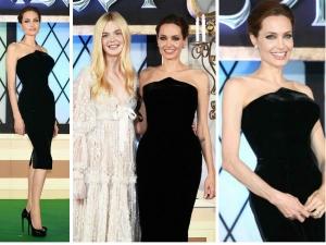 Angelina Jolie Looking Hot In Black Versace At Premiere