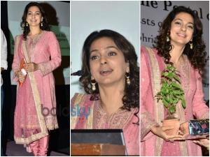 Juhi Chawla In Onion Pastel Salwar Suit