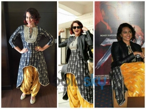 Dramatic Style Sonakshi Sinha In Bright Suit At Tevar Promotions