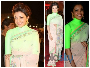 Kajal Aggarwal Brightens Up In Neon Manish Arora Saree