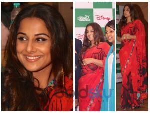 Vidya Balan Looks Red Hot In Satya Paul Saree