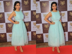 Sophie Choudry In Mint Blue Asos