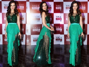 Evelyn Sharma Green Gaviin C Miguel Gown Vogue Beauty Awards