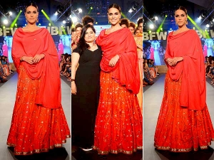 Neha Dhupia Turns Bridal Showstopper For Sangeetha Sharma At India Beach Fashion Week