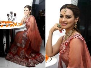 Sana Khan Celebrating Diwali In Beautiful Peach Lehenga