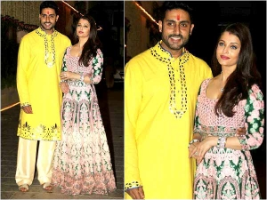 Hot Aishwarya Rai Bachchan Donning An Intricate Gown At Her Diwali Party