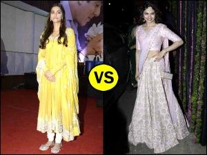 Celebrity Wardrobe Clash Choose The Best Sonam Kapoor Anarkali Prachi Desai Lehenga