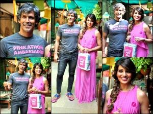 Celebs Bipasha Basu And Milind Soman At Pinkathon Mumbai