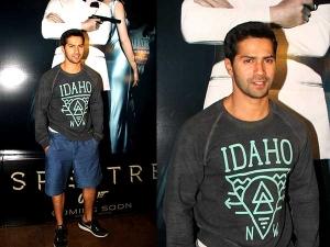 Varun Dhawan At Special Screening Of Spectre At Lightbox Mumbai