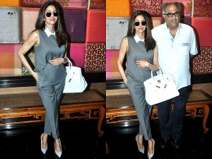 Sridevi Donning Grey Suit At Padmini Exhibition