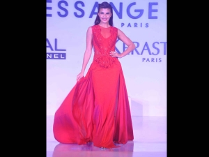 Jacqueline In Sheer Red Gown