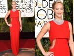 Golden Globe Awards 2016 Jennifer Lawrence In Red Dior Couture Gown