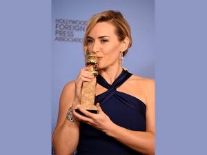Golden Globe Awards 2016 Winner Kate Winslet In Blue Dress