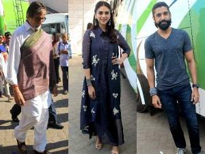 Wazir Promotions Amitabh Bachchan Aditi Rao Hydari Farhan Outfits