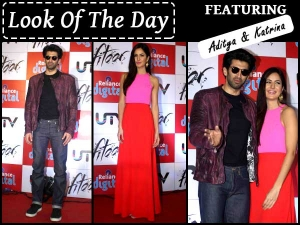 Look Of The Day Katrina Kaif Aditya Roy Kapur For Fitoor Promotions