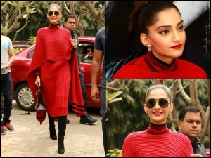 Sonam Kapoor Promoting Neerja In Solid Red From Head To Toe