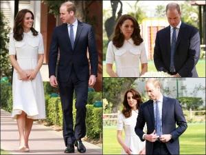 Kate Middleton At Gandhi Smriti Wearing Cream Emilia Wickstead Dress