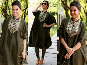 Neha Dhupia Promoting Santa Banta In Payal Singhal Outfit