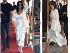 Kim Kardashian Cannes 2016 Wearing A Satin Slip Dress