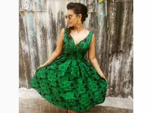 Lisa Ray Veerappan Promotions Dressed In Green Midi Dress