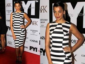 Mugdha Godse At Fyi Magazine May Issue Launch In Stripe Dress