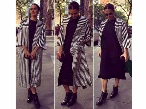 Neha Dhupia Nyiff 2016 Wearing Monochrome Stripes Check It Out