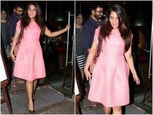 Richa Chadha Spotted At Juhu In A Pink Dress