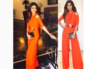 Shilpa Shetty Iifa 2016 Press Conference Dressed In An Orange Jumpsuit