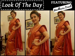Look Of The Day Madhuri Dixit In Silk Saree An Event In Kerala